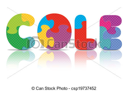 Clipart Vector of Vector COLE written with puzzle.