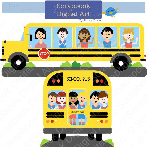 School Bus Clipart, School Clip Art, Education Clipart. Colegio.