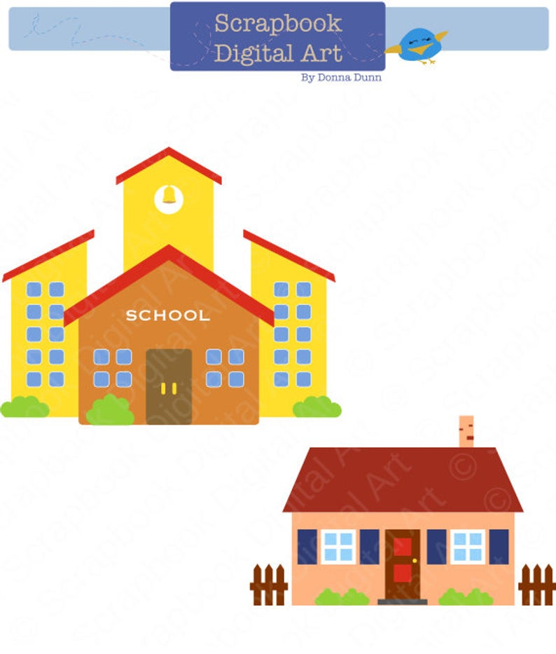 School Clipart, School Clip Art, Education Clipart, House clipart. Colegio,  escuela, casa..