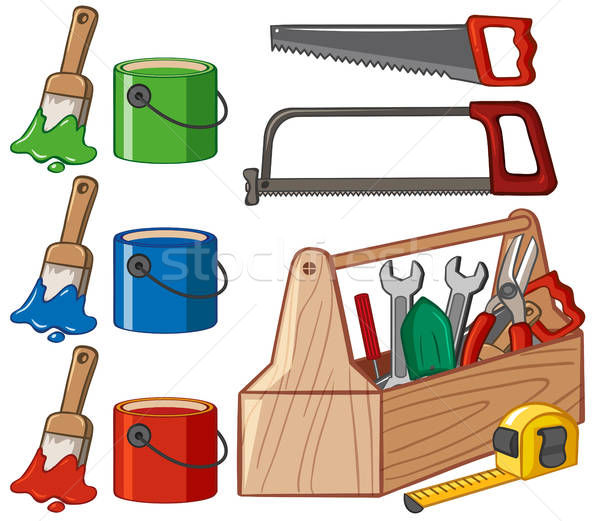 Toolbox and paint buckets vector illustration © Matthew Cole.