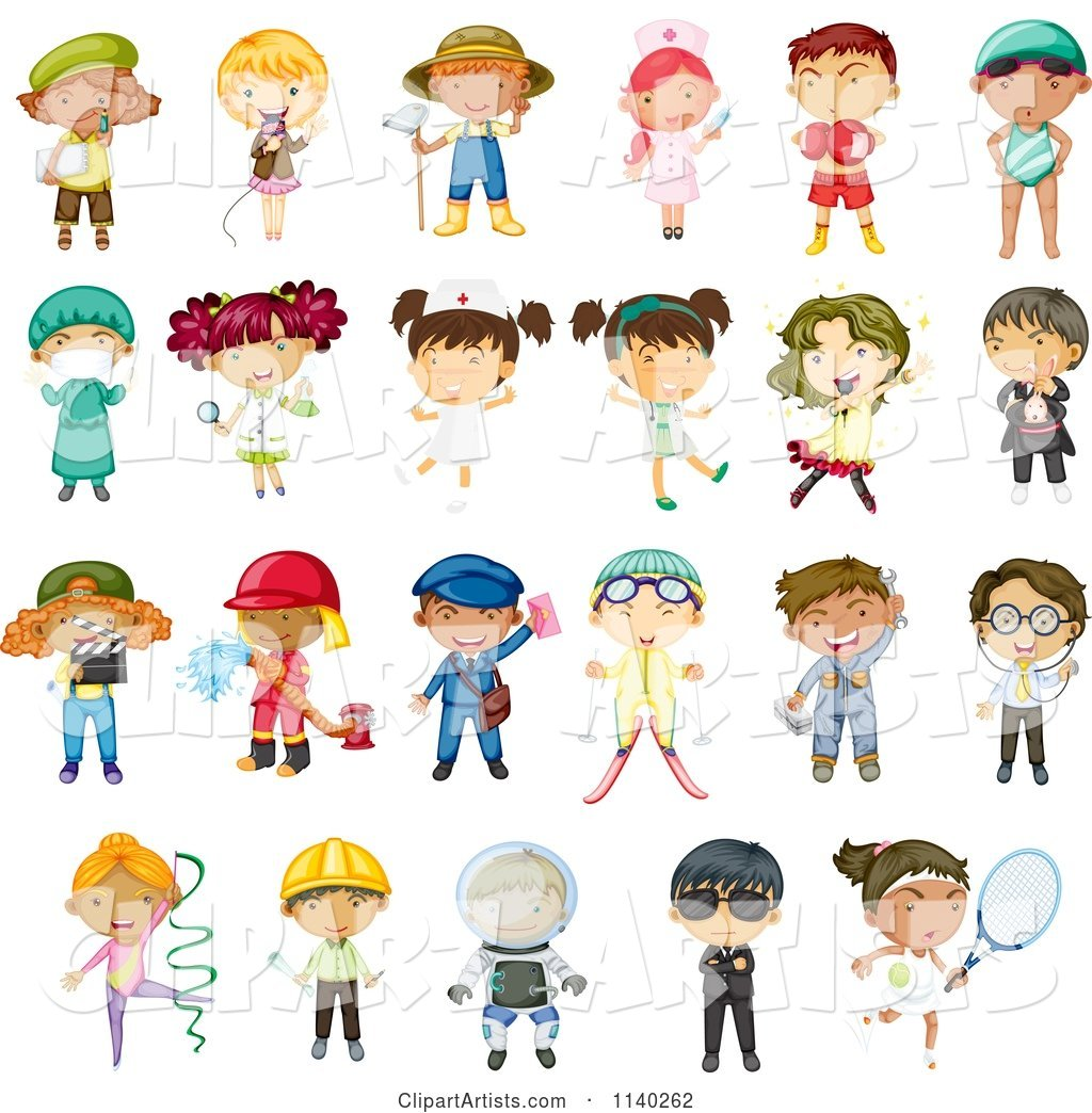 Occupation Kids And Uniforms 2 Clipart by Graphics RF (colematt).