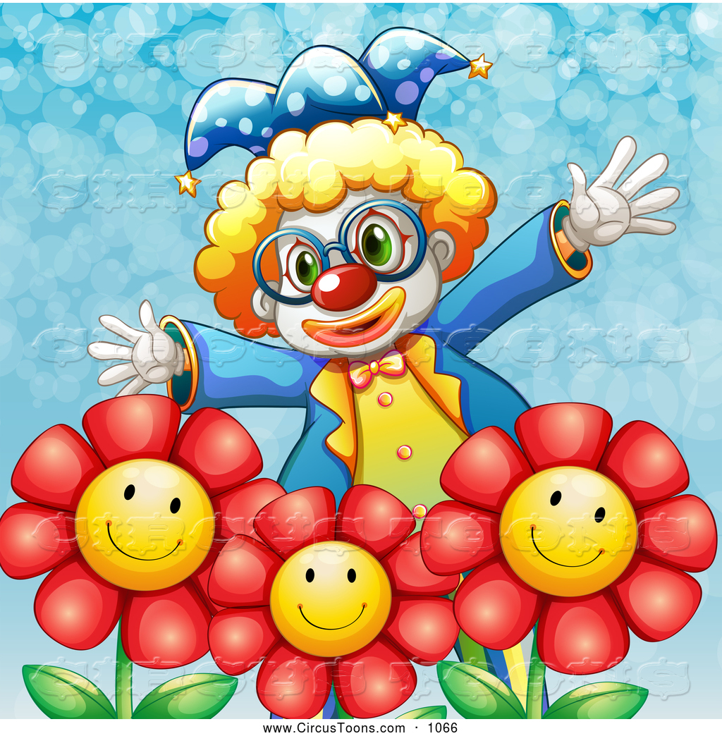 Circus Clipart of a Funny Happy Clown with Flowers by.