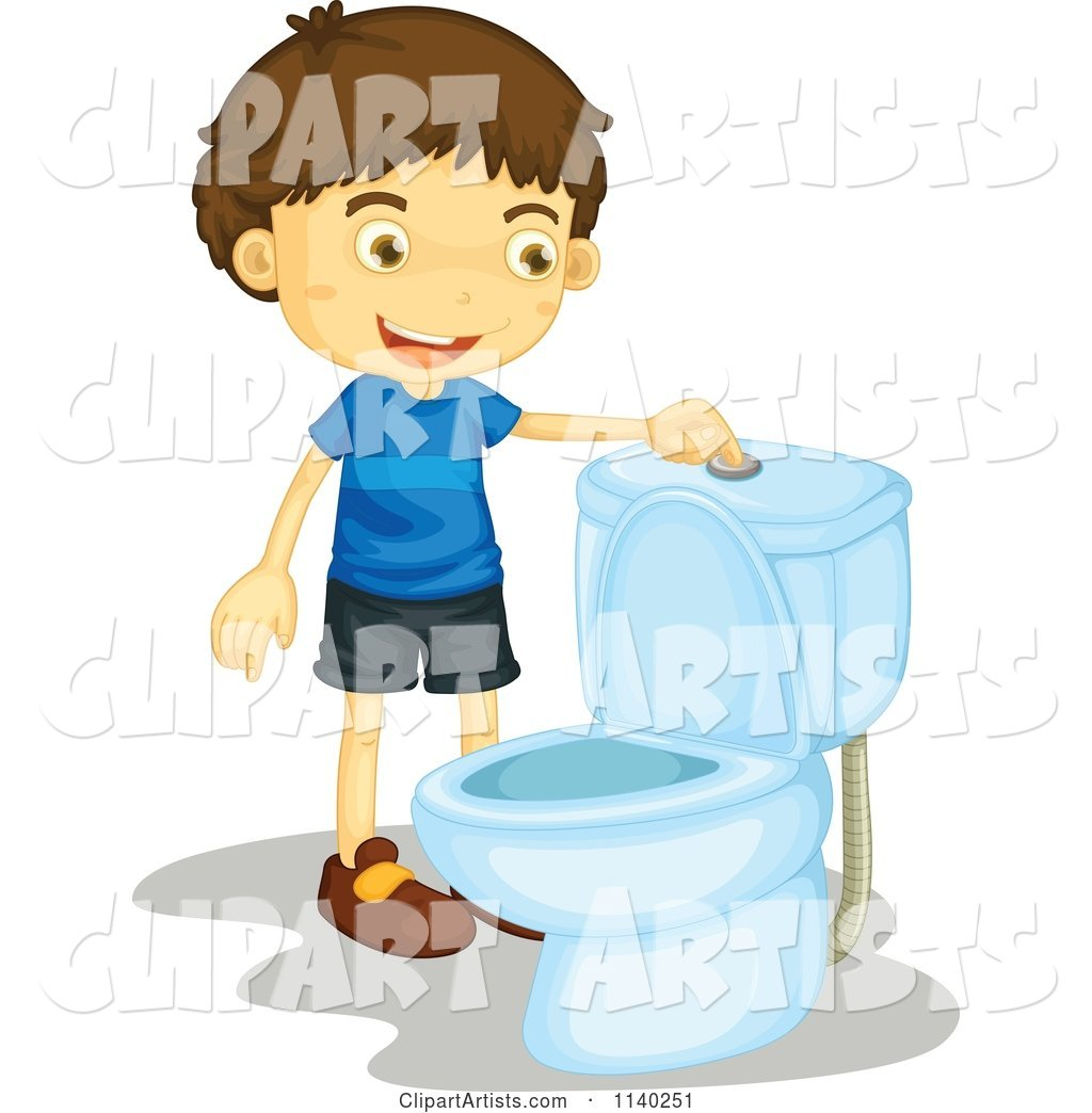 Happy Brunette Boy Flushing A Toilet Clipart by Graphics RF.