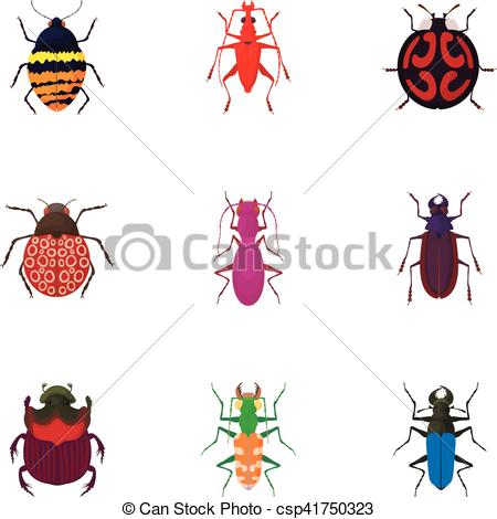 Vector Illustration of Order coleoptera icons set, cartoon style.