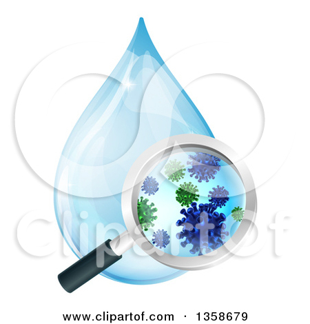 Clipart of a Magnifying Glass Discovering Microscopic Bacteria in.