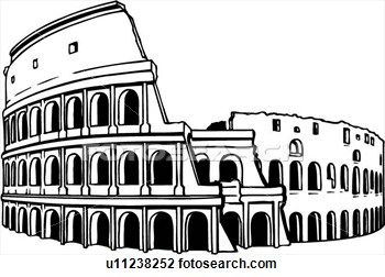 Illustration, lineart, coliseum, colosseum, rome, italy.