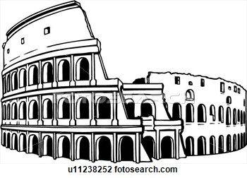 Illustration, lineart, coliseum, colosseum, rome, italy.