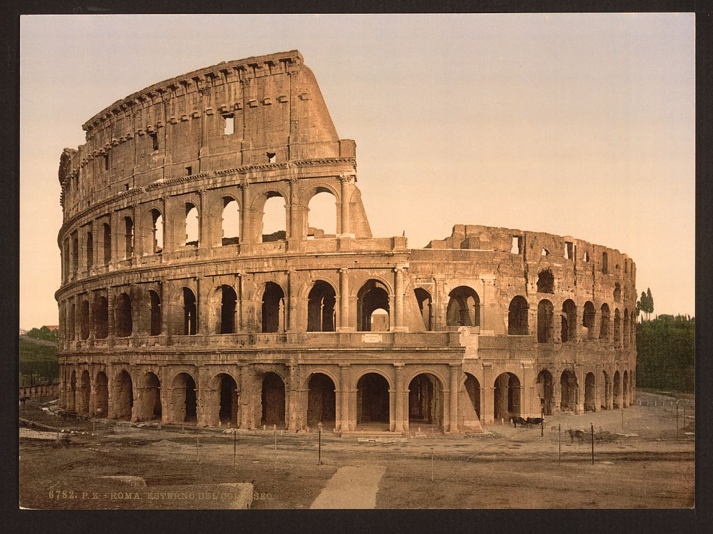 Exterior of the Coliseum, Rome, Italy].