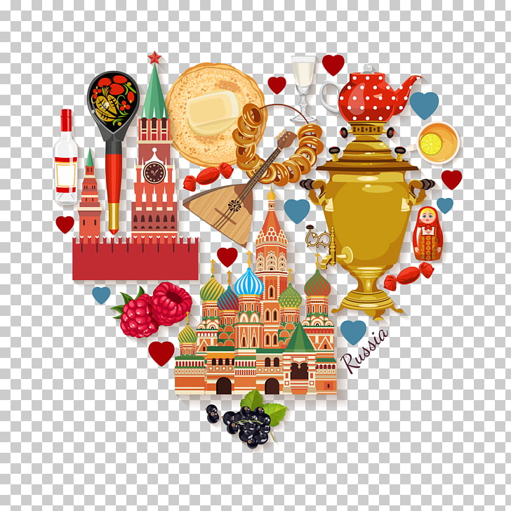 Moscow Illustration, European travel , assorted products.