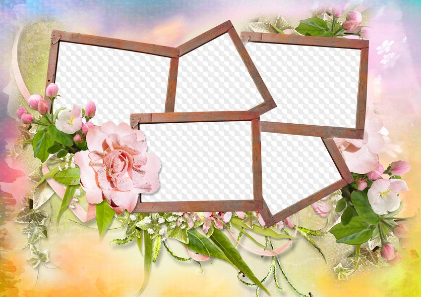 Photoshop Frame collage on 5 photos PSD PNG formats.