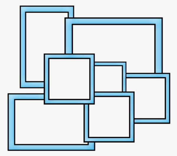 Collage Frame, Frame Clipart, Blue Border, Simple Border PNG.