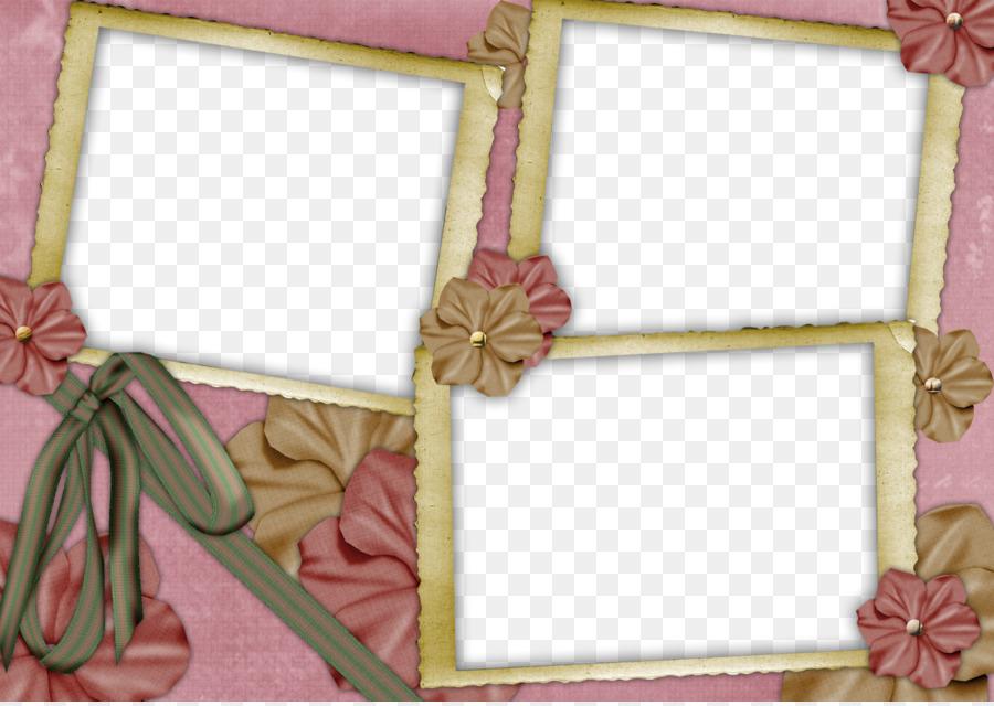 Pink Flower Frame png download.