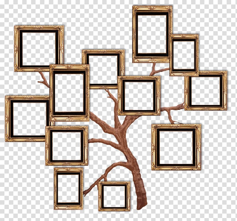 Brown tree collage, frame Film frame, Home transparent background.