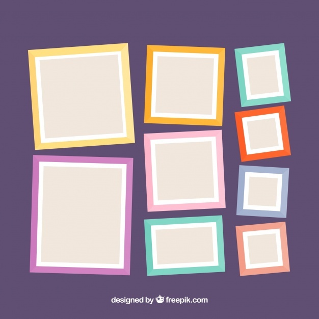 Free Photo frame collage composition with flat design SVG DXF EPS.