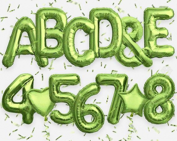 Green Letters & Numbers Foil Balloon, Confetti. Holographic.