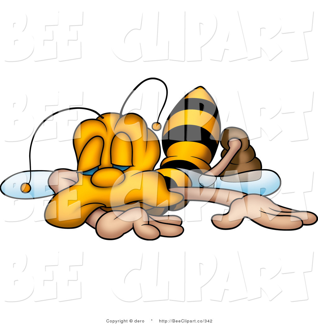 Clip Art of an Exhausted Yellow Honeybee Collapsed and.