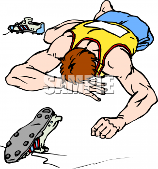Clipart Picture of a Boy Who Collapsed After Running a Race.