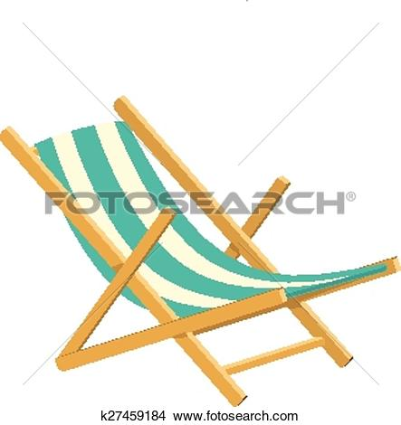 Clipart of Wooden collapsible chaise lounge for rest. k27459184.