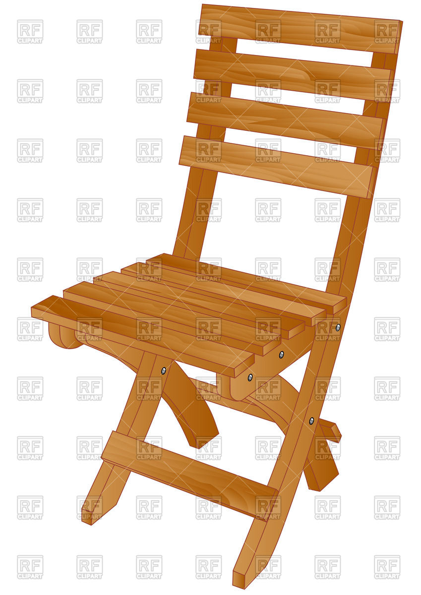 Wooden folding chair Vector Image #39749.