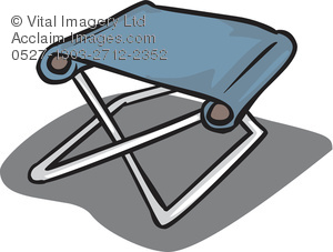 Clipart Illustration of a Collapsible Camping Stool.