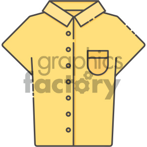 yellow collar shirt vector art clipart. Royalty.