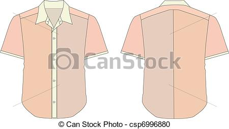 Vector Clipart of Collar Dress Shirt In Brick Color Tones.