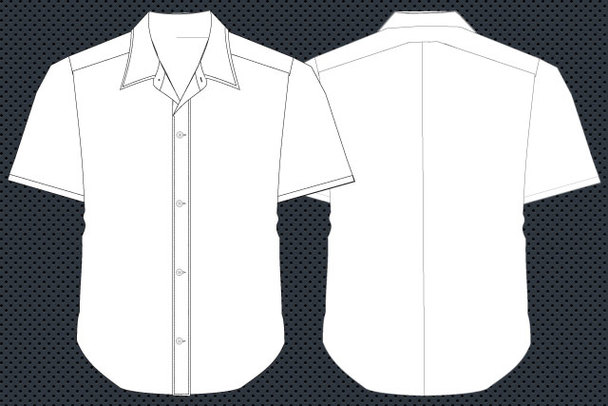 Collared Shirt Template Clipart.