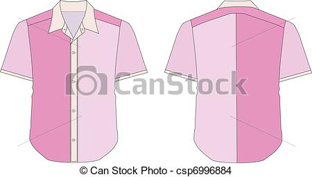 Clipart Vector of Collar Dress Shirt In Pink Color Tones.