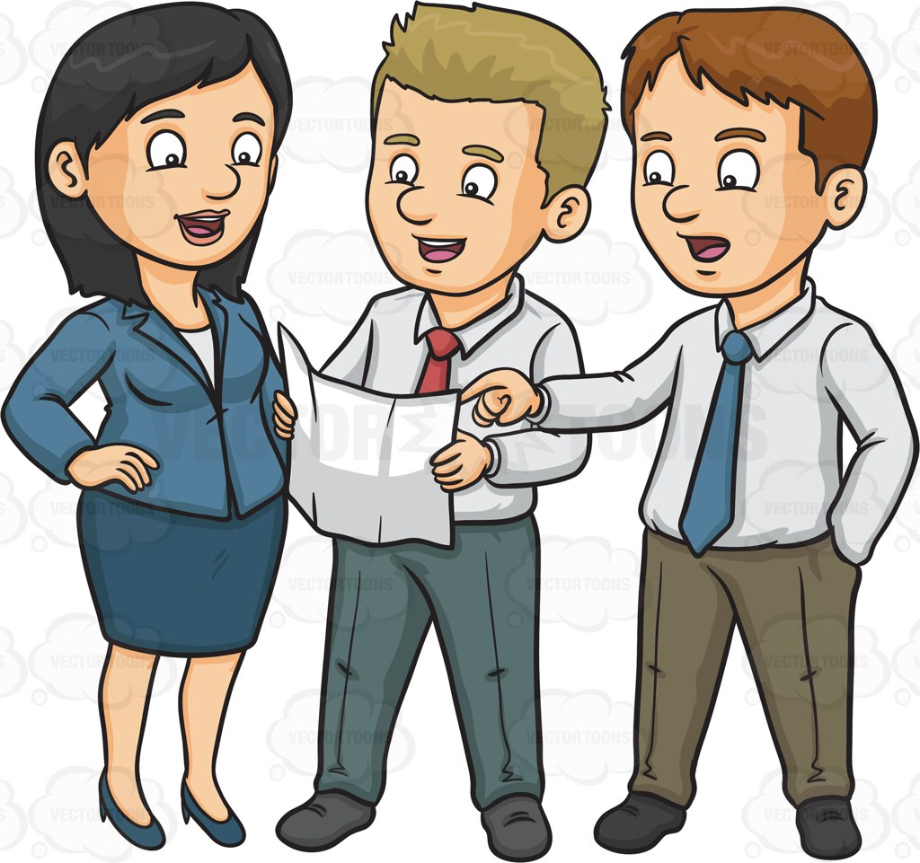 Three Work Colleagues Discussing A Plan Cartoon Clipart.