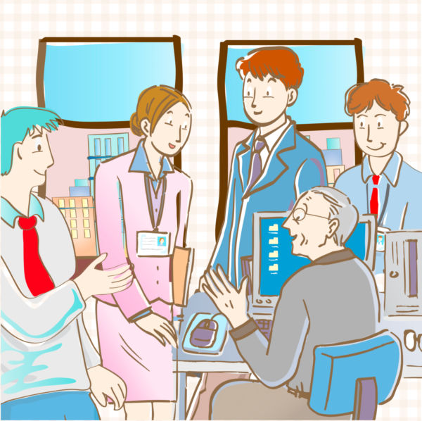 Clip art illustration of business people conversing with each.
