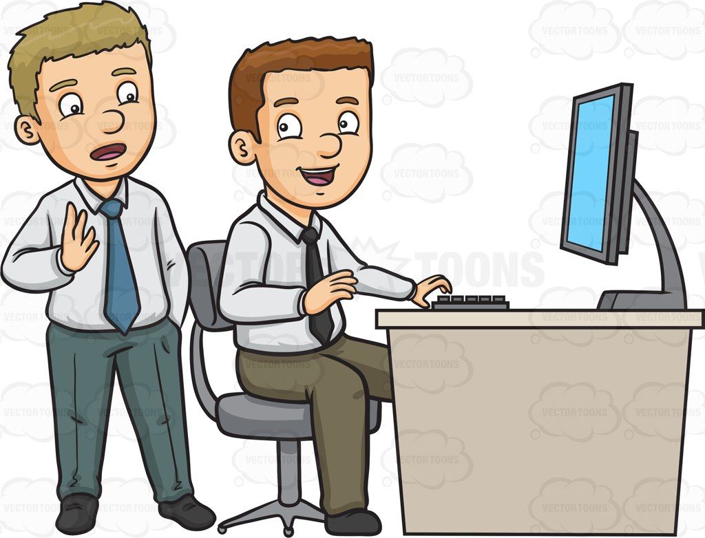 Two Work Colleagues Discussing Work Cartoon Clipart.