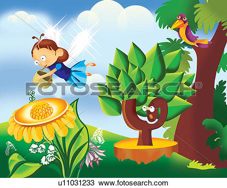 Clipart of Girlie representation of a butterfly collecting nectar.
