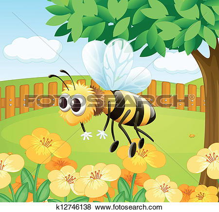 Stock Illustrations of Honey bee collecting the nectar, high angle.