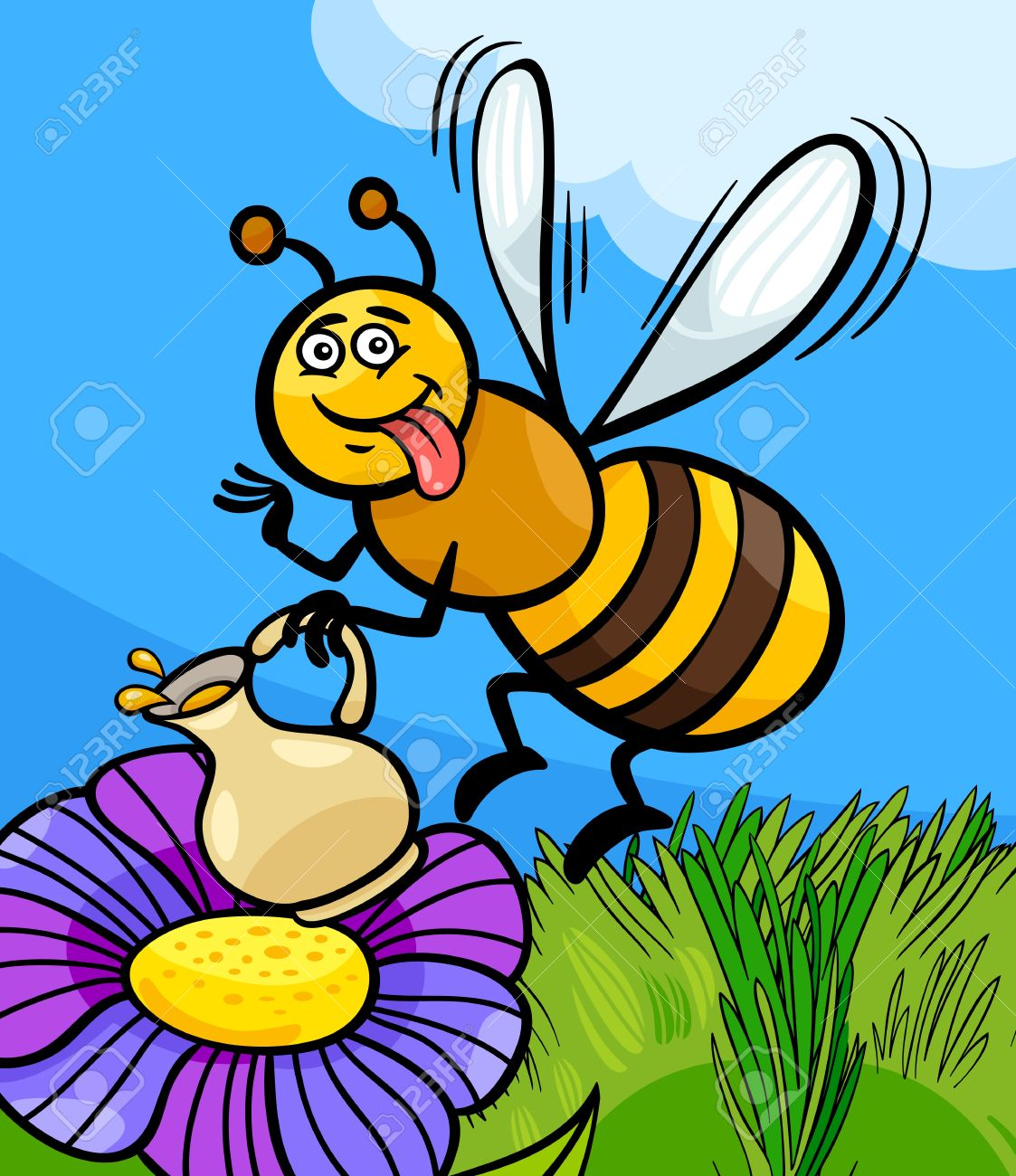 Cartoon Illustration Of Funny Bee On The Meadow With Pot Of Honey.