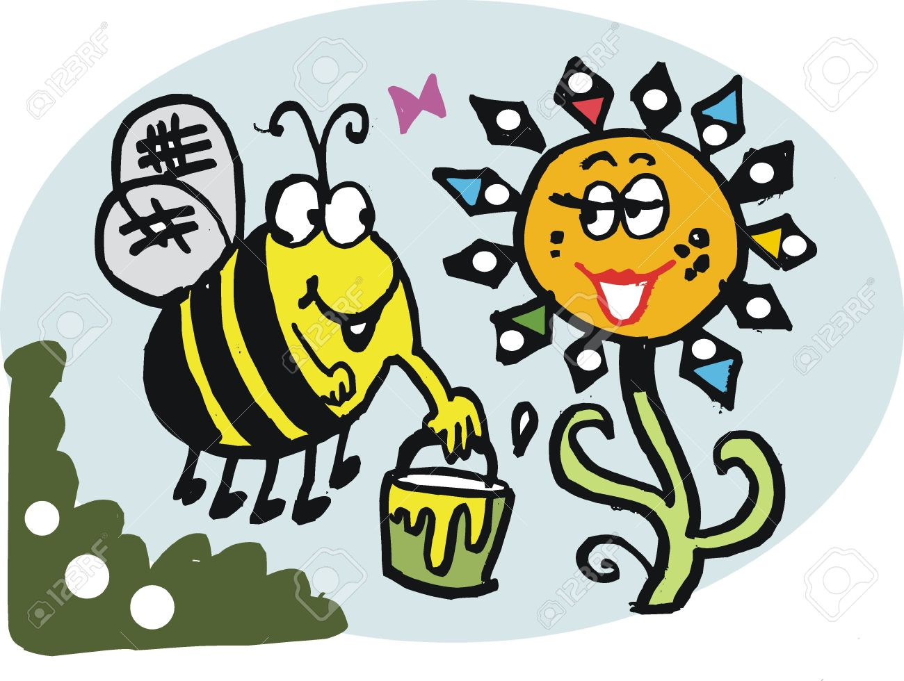 Vector Cartoon Of Bee Collecting Pollen From Flower Royalty Free.