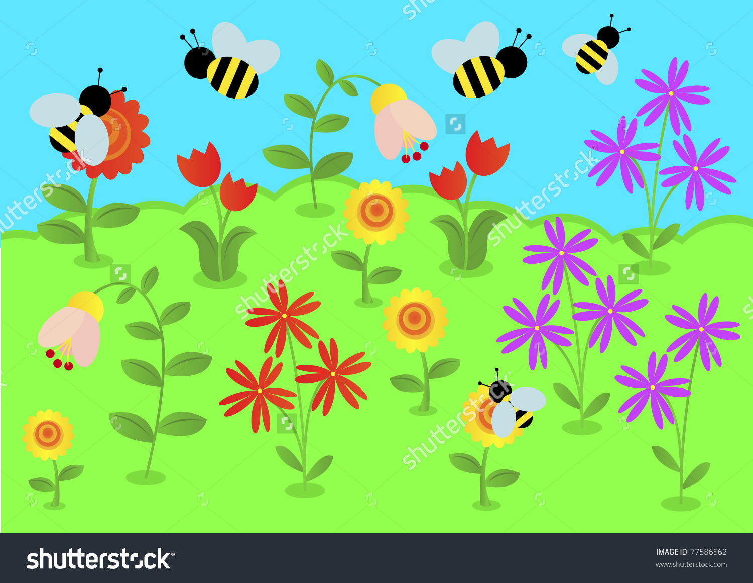 Bumblebees Flies To Collect Pollen From Flowers. Vector.