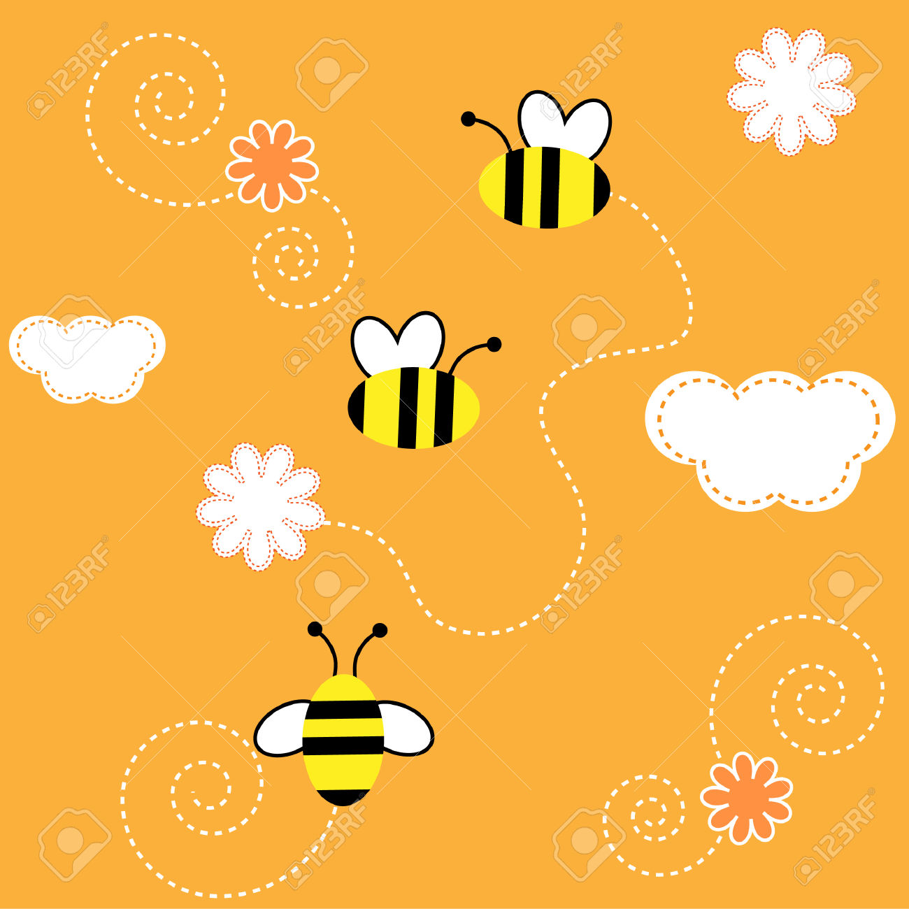 The Background Seamless .The Bees Collect The Pollen With Flower.