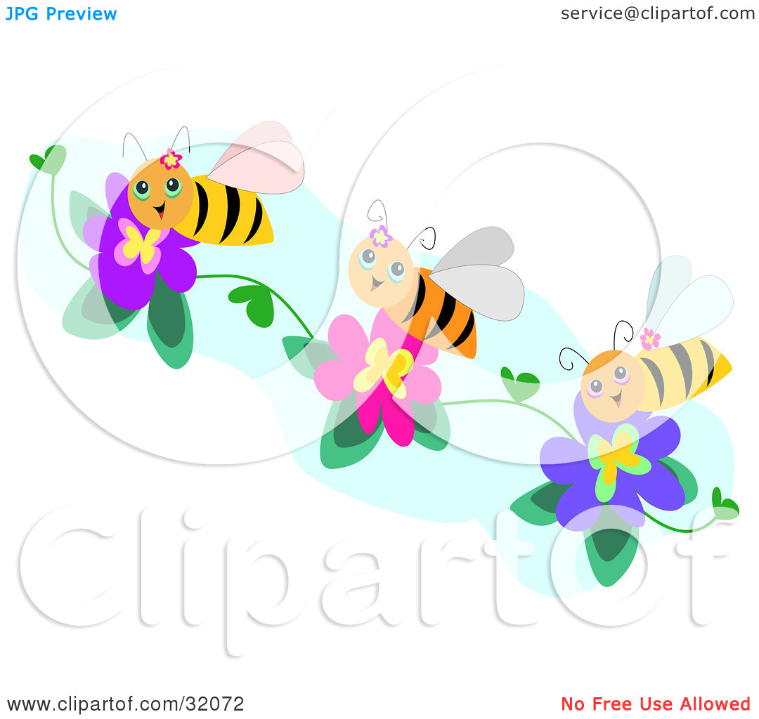 Clipart Illustration of Three Happy Bees Collecting Pollen From.