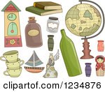Clipart of Hobbyist Antiques and Collectibles with Text Space.