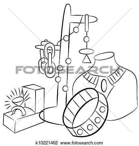 Clipart of Collectible Antiques Jewelry Drawing k10221462.