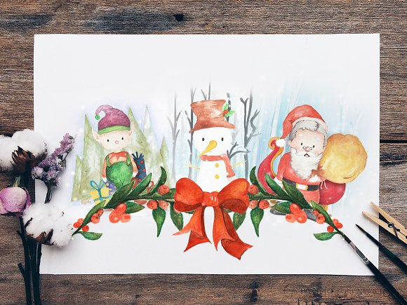 Christmas Cards Collectible Clipart ~ Illustrations on Creative Market.