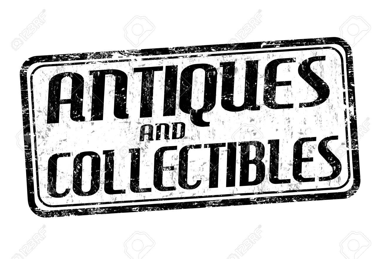 Antiques and collectibles grunge rubber stamp on white background,...