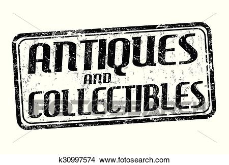 Antiques and collectibles stamp Clipart.