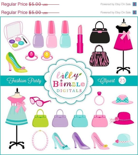50% off Fashion Party Clipart with Purses Makeup by.