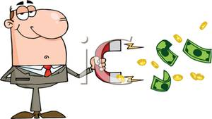 Businessman Collecting Cash with a Magnet.