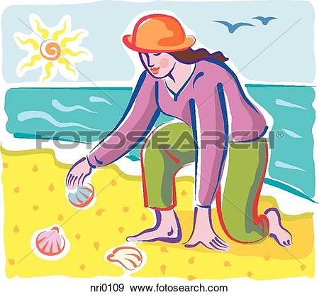 Stock Illustration of A woman collecting seashells on the beach.
