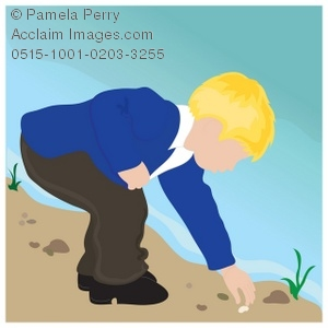 Clip Art Illustration of a Little Boy Collecting Rocks on the.