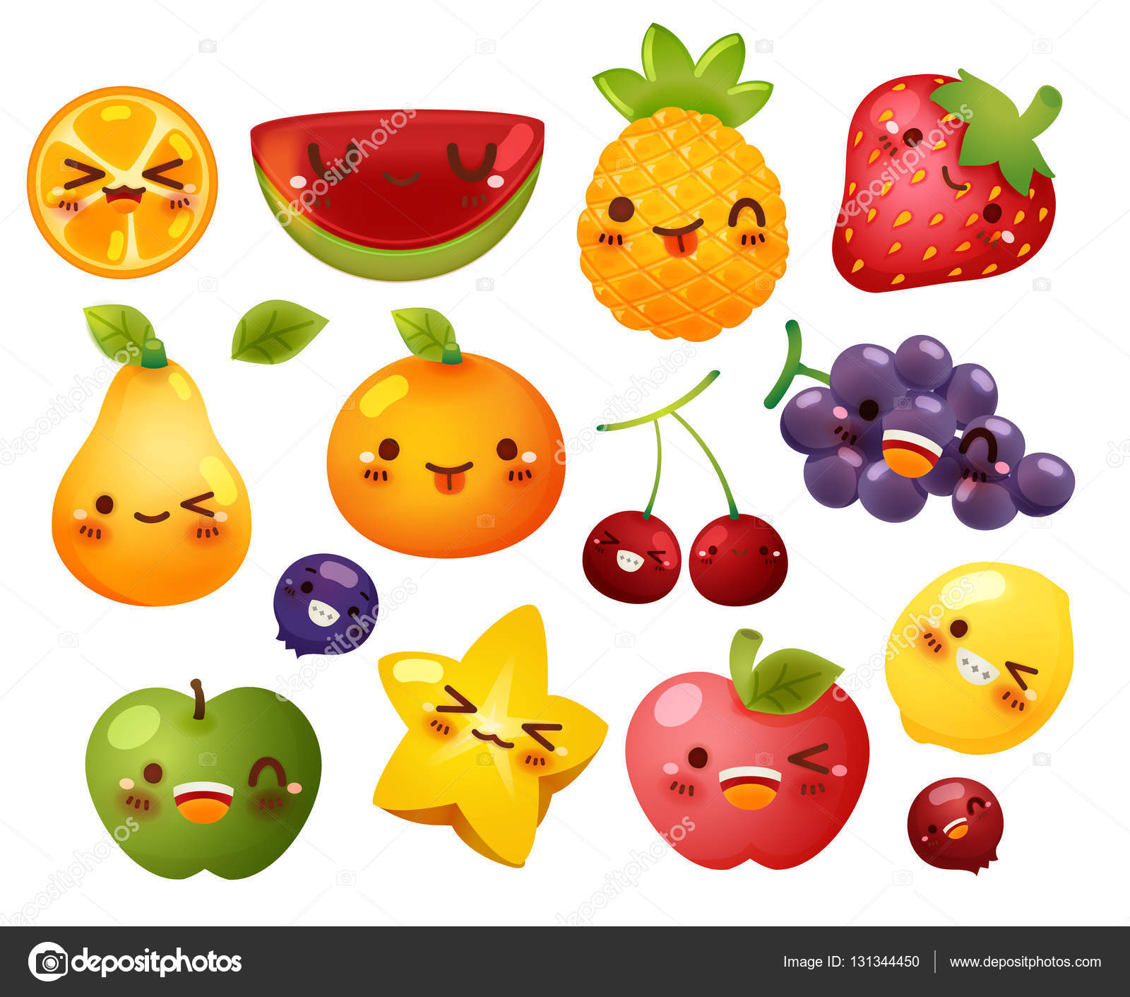 Collection of lovely baby fruit doodle icon, cute strawberry, ad.