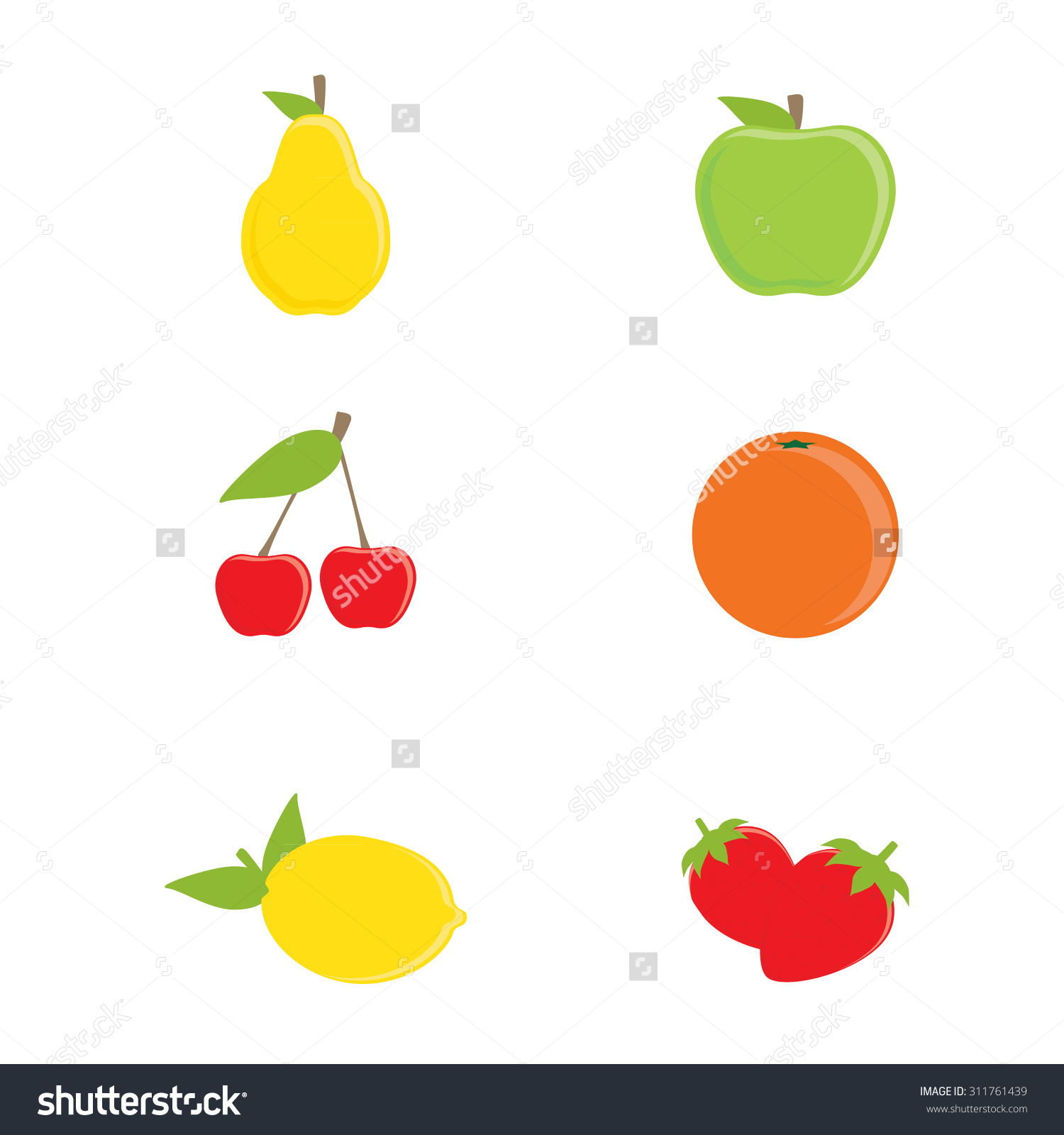 Vector Collection Of Fruit Icons. Yellow Pear, Green Apple, Orange.
