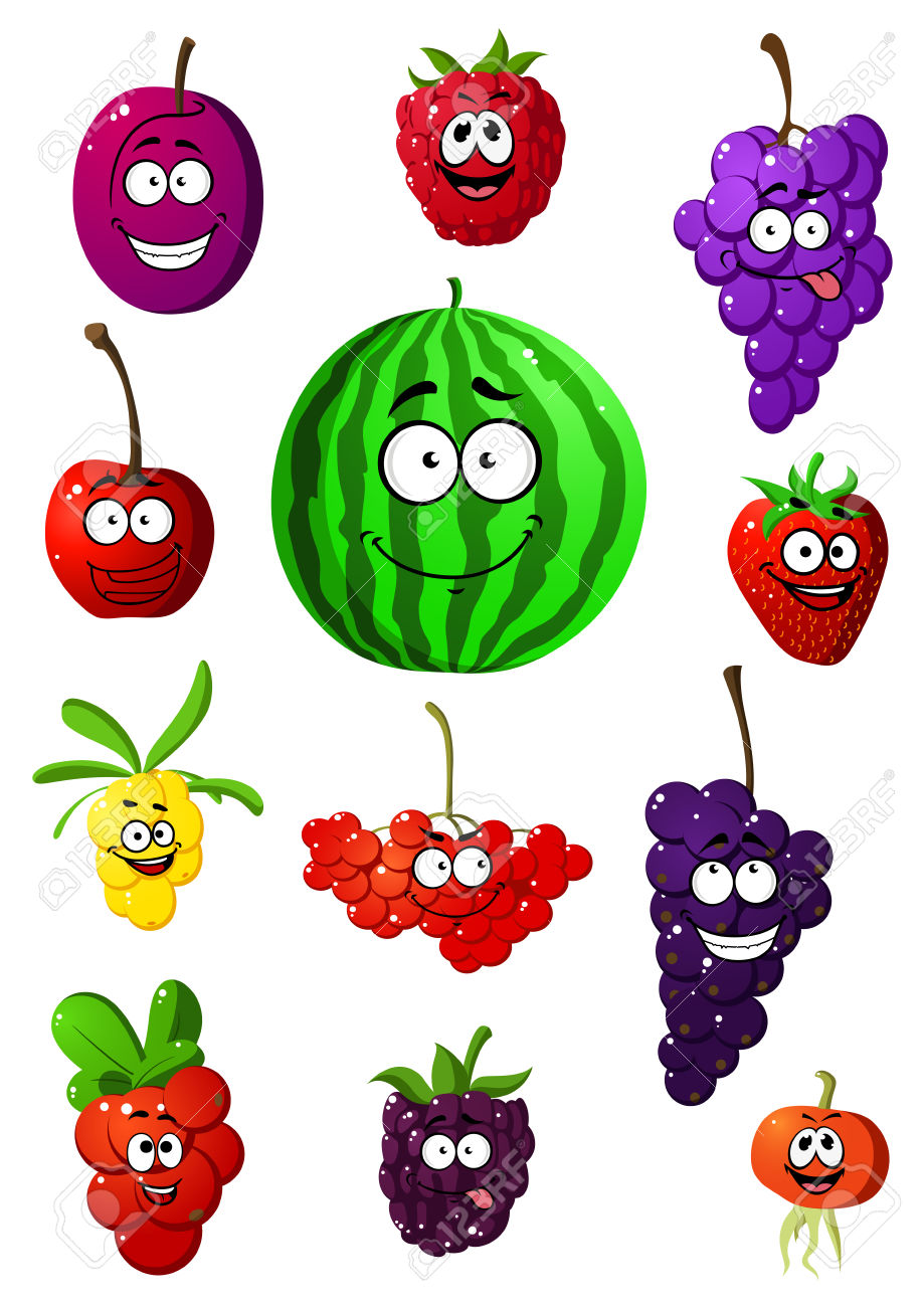 Colorful Collection Of Happy Smiling Cartoon Fruit And Berries.